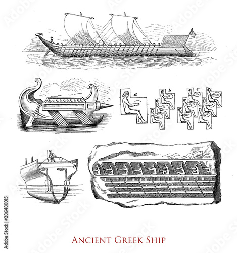 Fotografija Antiquity: ancient Greek ship, a 'catamaran hull' galley with rows of rowers and