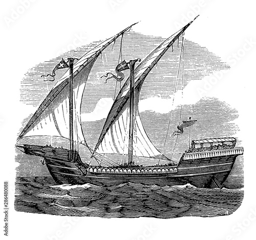 Fotografía French ship of the 13th century at Louis IX times, caravel ship with lateen rigg