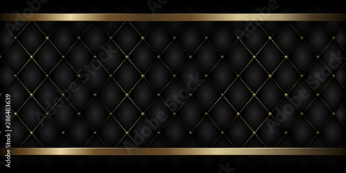 Fototapeta Decorative Upholstery Soft Gloss Quilted Background. True Luxury Template with Gold Thread obraz