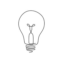 Continuous One Line Drawing Light Bulb Symbol Idea And Creativity Isolated On White Background Minimalism Design.