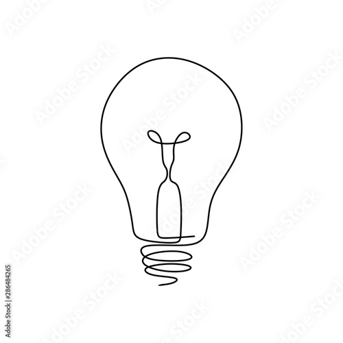 Obraz Continuous one line drawing light bulb symbol idea and creativity isolated on white background minimalism design. - fototapety do salonu