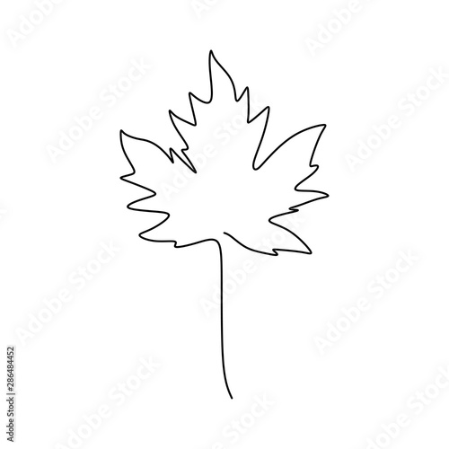 Fototapety, obrazy: Maple leaf continuous one line drawing minimalism design