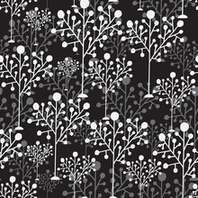 Trees Seamless Pattern. Simple Trees Ornament. Home Decor Wallpaper Design. Pattern Of Black White Trees. Vector Forest Background