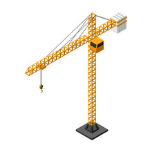 Isometric Yellow Tower Crane Vector Icon Isolated On White Background.