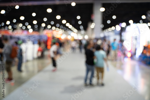 Blurred images of trade fairs in the big hall Fototapet