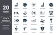canvas print picture - Stock Market icon set. Contain filled flat bear market, stock market, stock prices, stock agent, business day, capital stock, commission icons. Editable format