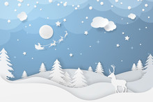 Vector Winter Night Scene In P...
