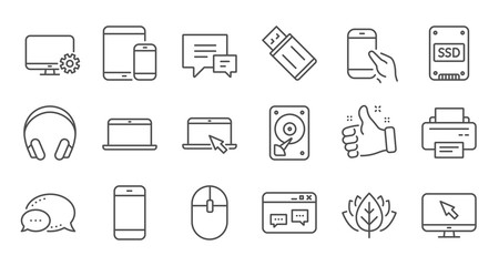Device line icons. Laptop, SSD and Headphones. Printer linear icon set. Quality line set. Vector