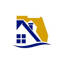 Florida Map Vector Logo. House...
