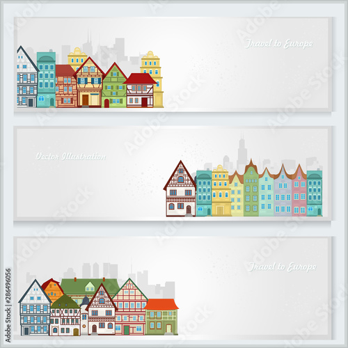 Three vector postcards with european houses on a light background