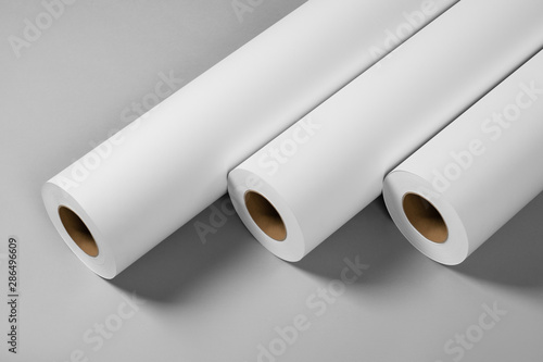 Cuadros en Lienzo Blank white paper rolls isolated on gray background