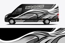 Van Wrap Livery Design For Company. Ready Print Wrap Design For Van. - Vector