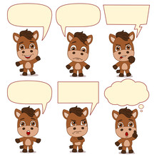 Set Of Little Horse In Different Poses With Speech Bubbles Isolated On White Background