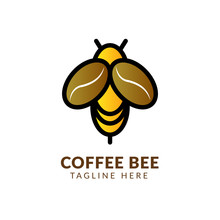 Illustration Of Coffee Cup Drink And Bee Logo Design Inspiration,bee Coffee Logo Vector , Outline Logo