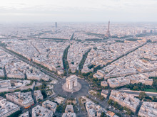 Aerial Of The Arc De Triomphe In Paris, France