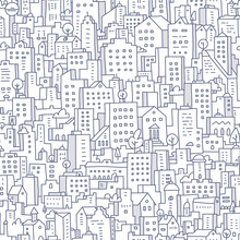 Cityscape Seamless Doodle Pattern