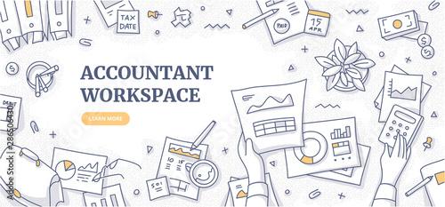 Fotografía Accountant Workspace Doodle Concept