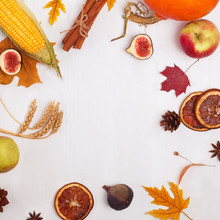 Creative Autumn Frame With Fruits, Vegetables, Leaves And Place For Text