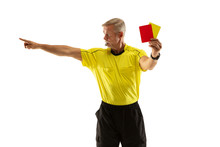 Referee Showing A Red And Yell...