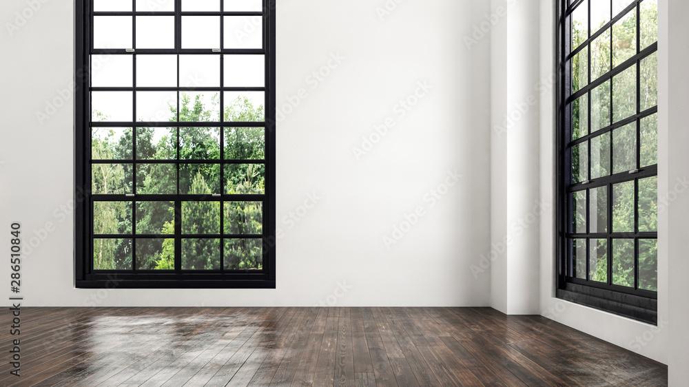 Fototapeta Empty room corner view with large windows