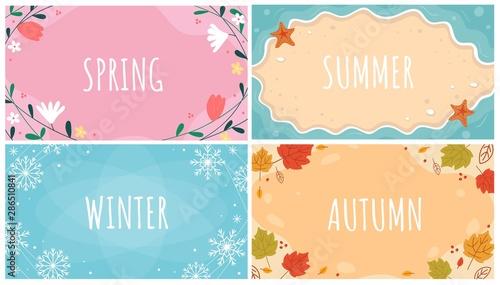 Fotografiet  Beautiful natural seasonal backgrounds set vector illustration