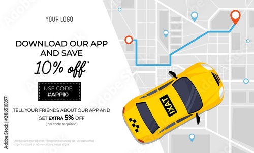 Fotomural Taxi service promo ad banner with promotional code vector illustration