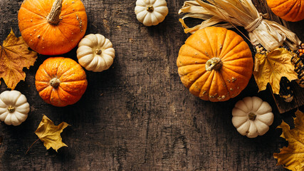 Pumpkins and corn and autumn leaves on old shabby background. Autumn background with copy space.
