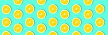 Fresh Lemon (lemons) Pattern On Pink Background. Minimal Concept. Summer Minimal Concept. Flat Lay