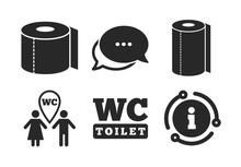 Gents And Ladies Room Signs. Chat, Info Sign. Toilet Paper Icons. Paper Towel Or Kitchen Roll. Man And Woman Symbols. Classic Style Speech Bubble Icon. Vector
