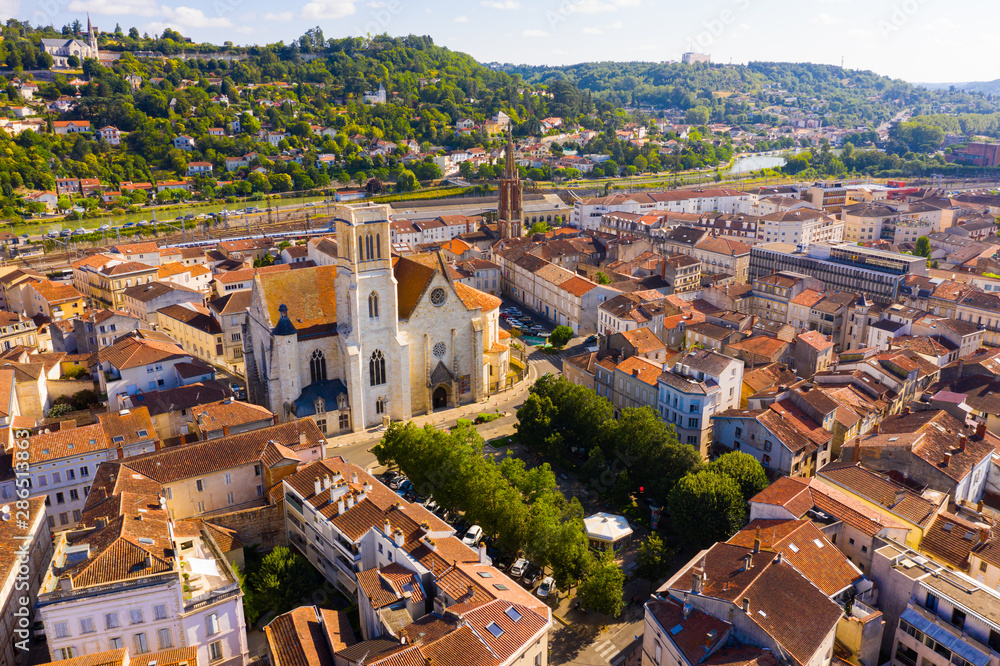 Fototapety, obrazy: Aerial view on the city Agen. France