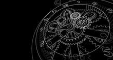Mechanical Vintage Clock 3d Illustration