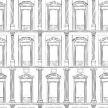 Vector Seamless Pattern Of Ancient Facade Of Classical Building. Black And White Repeat Drawing Of Roman Architecture.