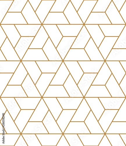 Vector seamless geometric pattern. Gold linear pattern. Wallpapers for your design.  - 286518248