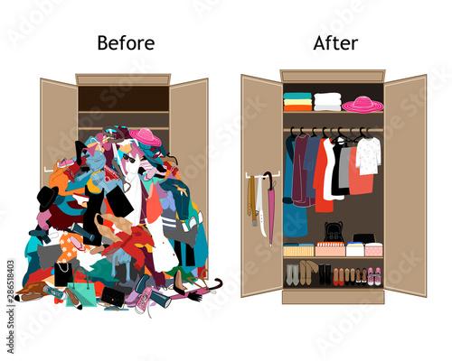 Fotografía  Before untidy and after tidy wardrobe