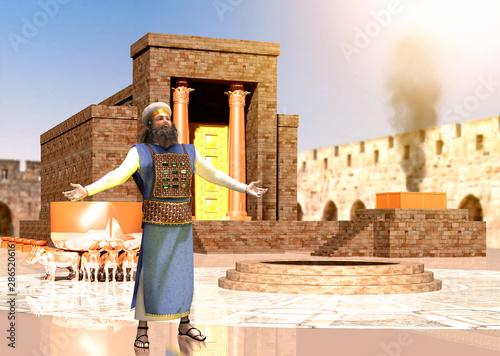 Obraz na płótnie Biblical Jewish Priest Standing In Front Of King Solomon's Temple