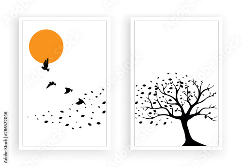 Fotografia Tree wind leaves and flying birds on sunset vector, wall decals, wall decor