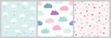 Śliczny skandynawski wzór z chmurami i sercami. Bezszwowe tło wektor na Walentynki z chmurami i deszczem serca. Ilustracja dla niemowląt, dzieci.