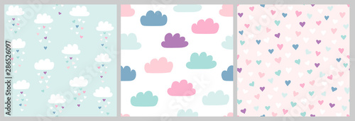 Cute scandinavian pattern set with clouds and hearts. Vector seamless background for Valentines day with clouds and heart rain. Illustration for babies, kids. - 286526097