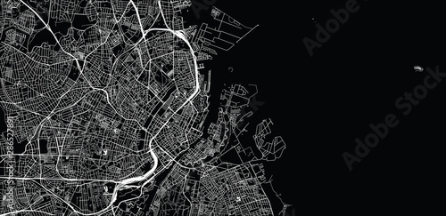 Urban vector city map of Copenhagen, Denmark Canvas Print