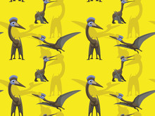 Dinosaur Quetzalcoatlus Cartoon Background Seamless Wallpaper