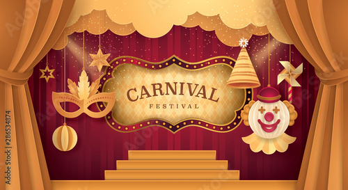 Photo Premium Curtains stage with Circus Frame Bordor