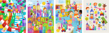 Children And Kids! Cute Vector Illustrations Of Children On A Playground In The Street, In The Aquapark And In A Kindergarten In The Room. Drawings Of Boys And Girls Playing Games