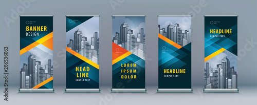 Business Roll Up Set. Standee Design. Banner Template, Abstract Geometric Triangle Background