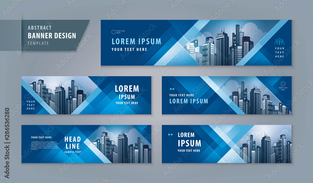 Fototapety, obrazy: Abstract banner design web template Set, Horizontal header web banner