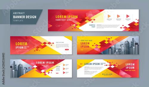 Abstract banner design web template Set, Horizontal header web banner Canvas Print