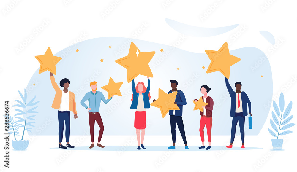 Fototapeta People are holding stars over the heads. Feedback consumer or customer review evaluation, satisfaction level and critic icon concept. Vector illustration