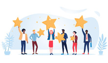 People Are Holding Stars Over The Heads. Feedback Consumer Or Customer Review Evaluation, Satisfaction Level And Critic Icon Concept. Vector Illustration