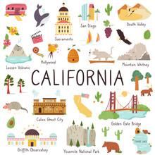 California Big Set Of Landmarks, Monuments Symbols