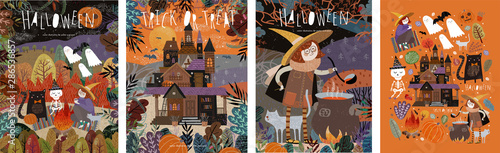 Obraz na plátně  Happy Halloween! Vector illustrations of a picnic with characters: ghosts, a witch and a skeleton; castle in the forest; witch cooking potion and a set of objects