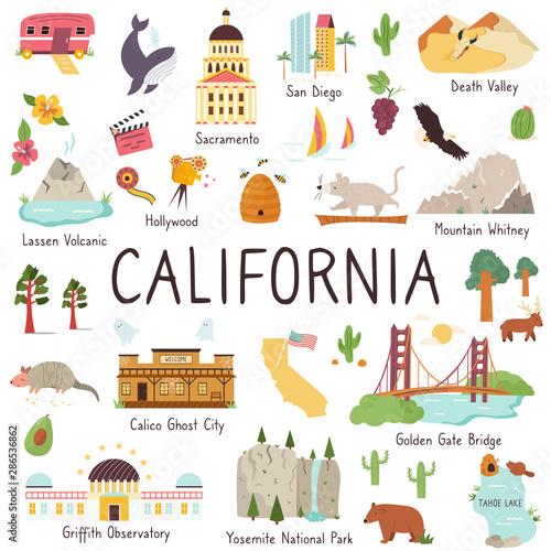 California big set of landmarks, monuments symbols Fototapete